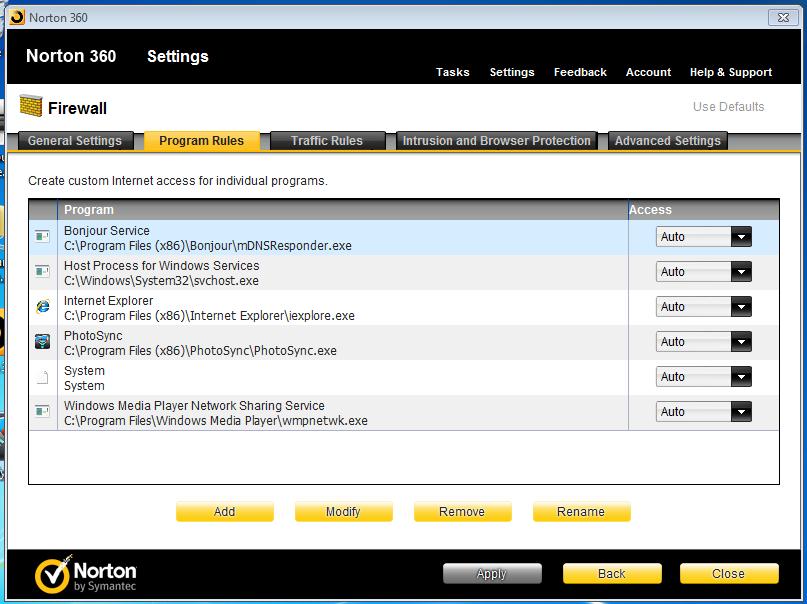 How to configure Norton 360 to work with PhotoSync? - PhotoSync